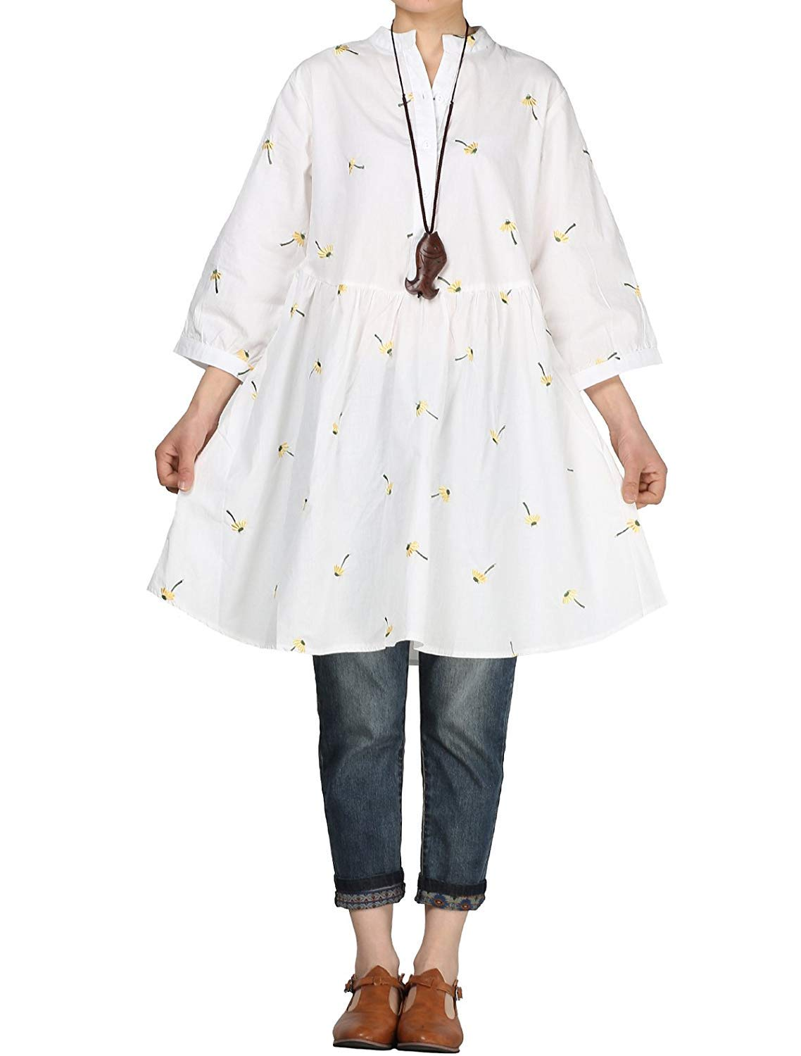 Eletina Staring Women's Notched Embroidery Half Dress Button Down Flared Blouse Tunic White by Eletina Staring