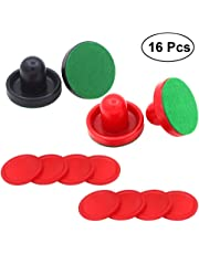 YeahiBaby 16PCS 76MM Air Hockey Pushers y Pucks Reemplazo para porteros de mesas de Juego (Rojo y Azul Oscuro)