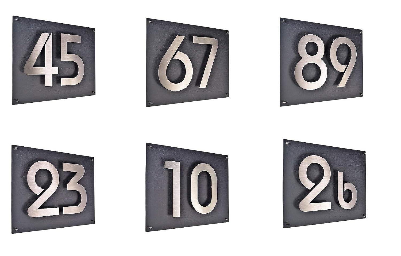 29x21cm diamant-anthrazit unsichtbare Befestigung Hausschild 6 Hausnummer 3D Edelstahl V2A H20cm ITC Bauhaus Design Platte