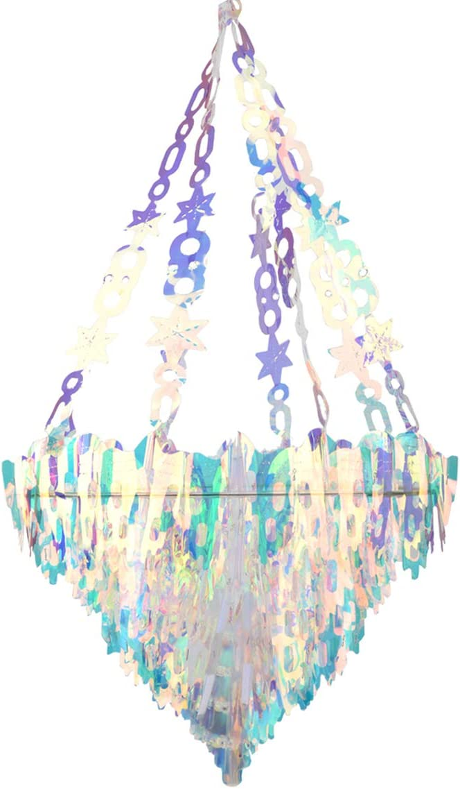 Holographic Chandelier Shaped Hanging Decoration, Shiny Iridescent White Foil Ceiling Decorative Ornament for Decorating Party Venue