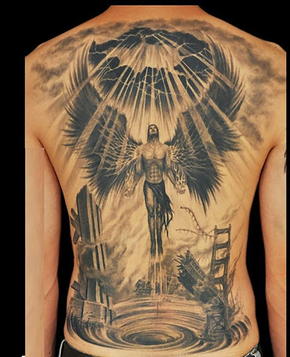 Amazon Com 2 Sheets Full Back Temporary Tattoos For Men Women Doomsday Angel Fashion Religion Body Art Jesus Christ Holy Light Sticker Sexy Fake Tattoo Special Design Waterproof Black Tattoos Beauty Tattoos of jesus mostly show the face of the christ. 2 sheets full back temporary tattoos for men women doomsday angel fashion religion body art jesus christ holy light sticker sexy fake tattoo special