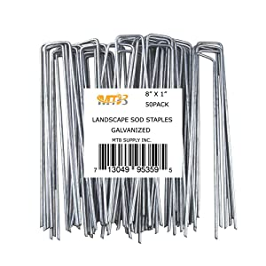 """MTB 50 Pack 8"""" L x 1"""" W 11GA (0.12"""") Landscape Staples Galvanized Anti-Rust, Garden Stakes Netting Pins Ground Spikes Sod Cover Pegs (Also Sold in 100Pack/250Pack. Black Carbon Steel Available)"""