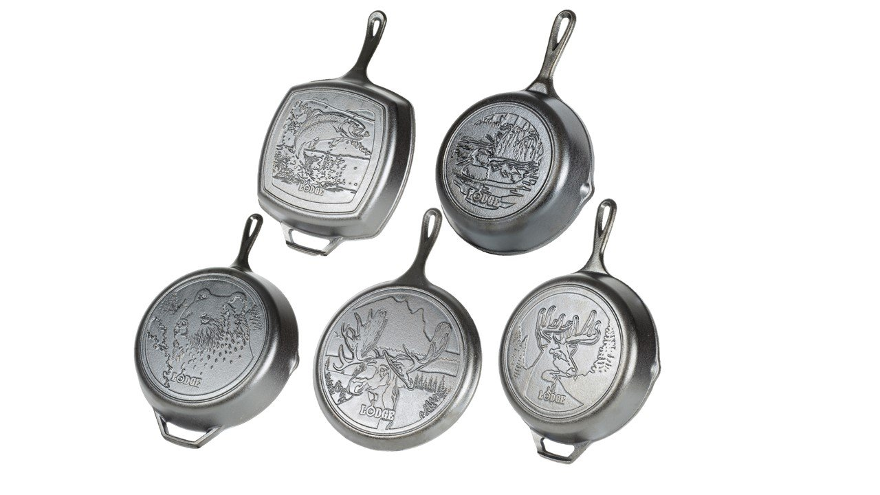 """Lodge Wildlife Series - Seasoned Cast Iron Cookware with Wildlife Scenes. 5 Piece Iconic Collector Set Includes 8"""" Skillet, 10.25"""" Skillet, 12"""" Skillet, 10.5"""" Grill Pan, and 10.5"""" Griddle"""