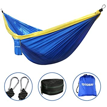 hammock totobay camping hammocks with friendly tree straps and steel carabiners  eno hanging hammock amazon     hammock totobay camping hammocks with friendly tree      rh   amazon