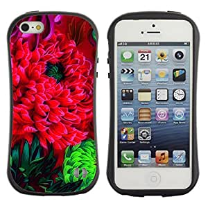 Suave TPU GEL Carcasa Funda Silicona Blando Estuche Caso de protección (para) Apple Iphone 5 / 5S / CECELL Phone case / / Flower Blossom Red Green Art Watercolor /