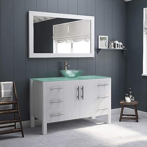 48″ White Solid Wood Tempered Glass Single Vessel Sink Bathroom Vanity w/Brushed Nickel Faucet