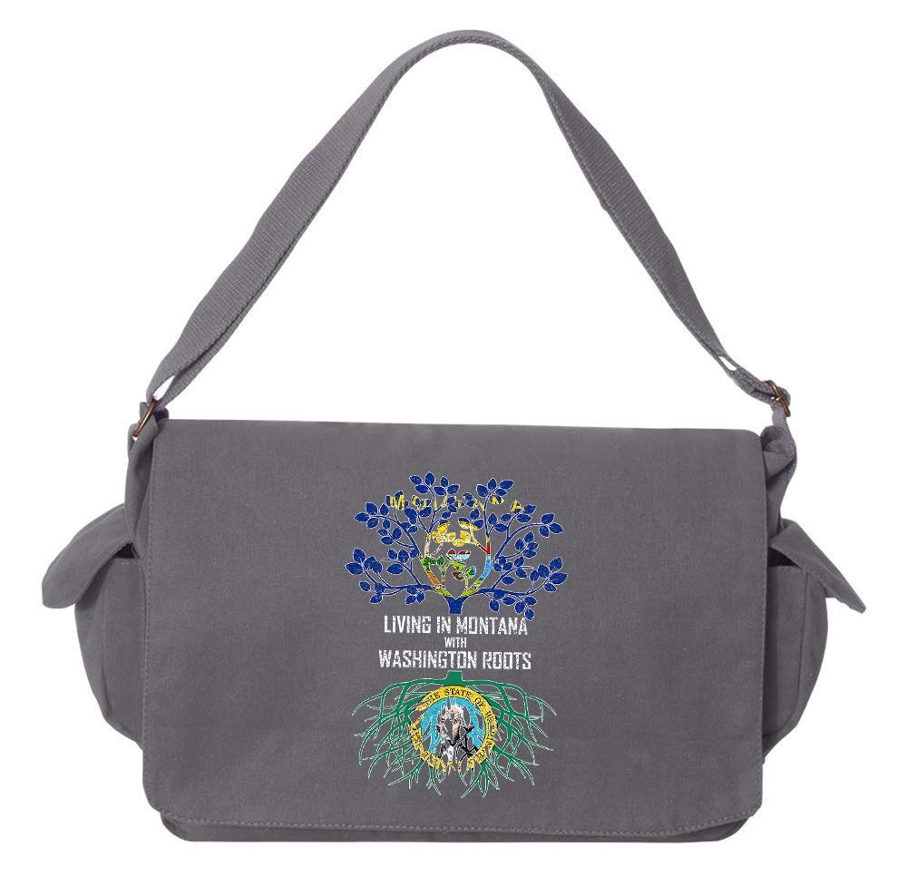 Tenacitee Living In Montana with Washington Roots Grey Brushed Canvas Messenger Bag