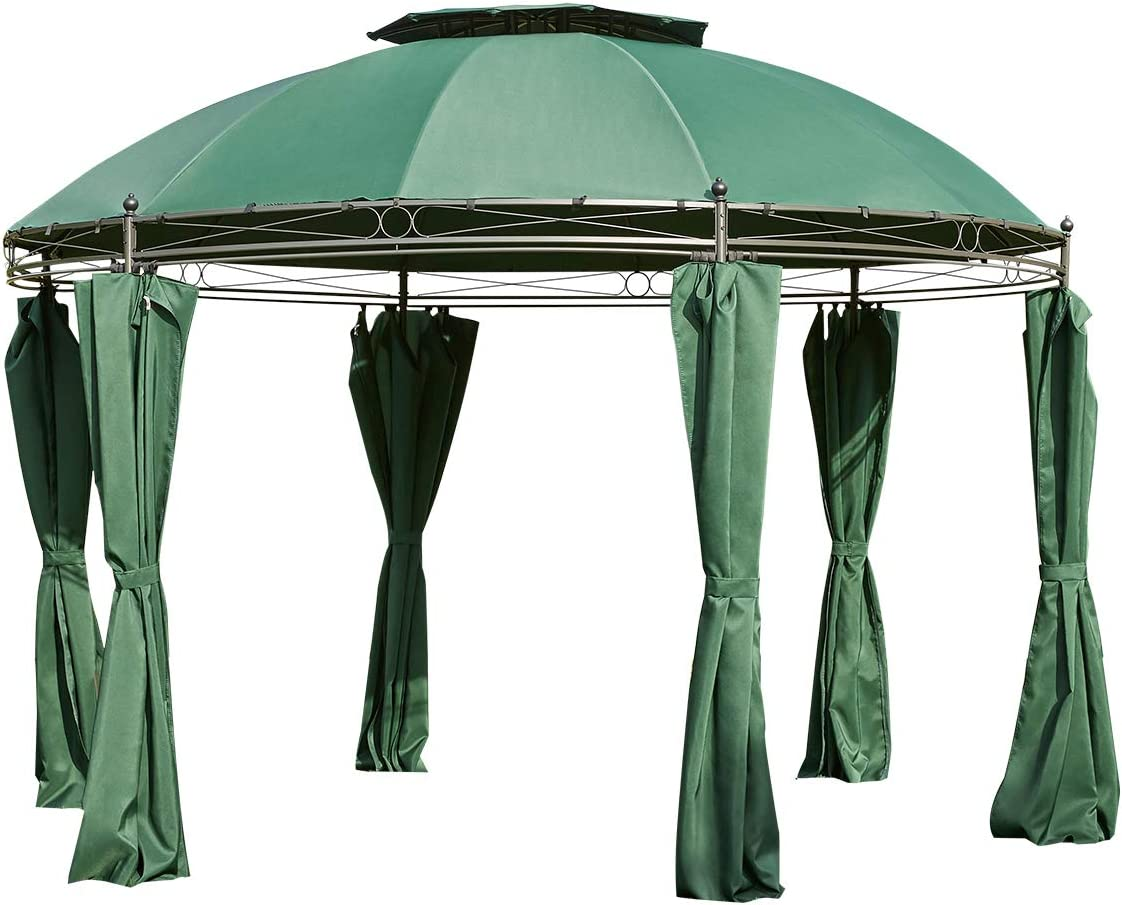Green AVAWING Outdoor Gazebo//11.5ft Steel Fabric Round Soft Top Gazebo,Outdoor Patio Dome Gazebo with Removable Curtains