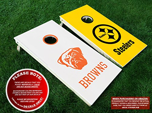 Cleveland Browns vs Pittsburgh Steelers Cornhole Decals | COLOR CHOICE | Six (6) Vinyl Decals for DIY Board Building & Decorating | Decal Sticker ()