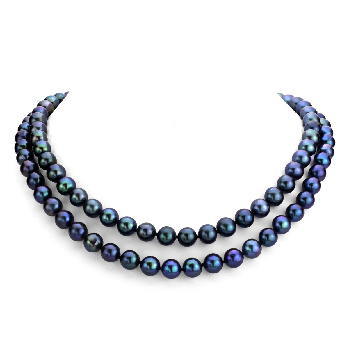 La Regis Jewelry Sterling Silver 2-Rows Dyed Black Freshwater Cultured High Luster Pearl Necklace, 17
