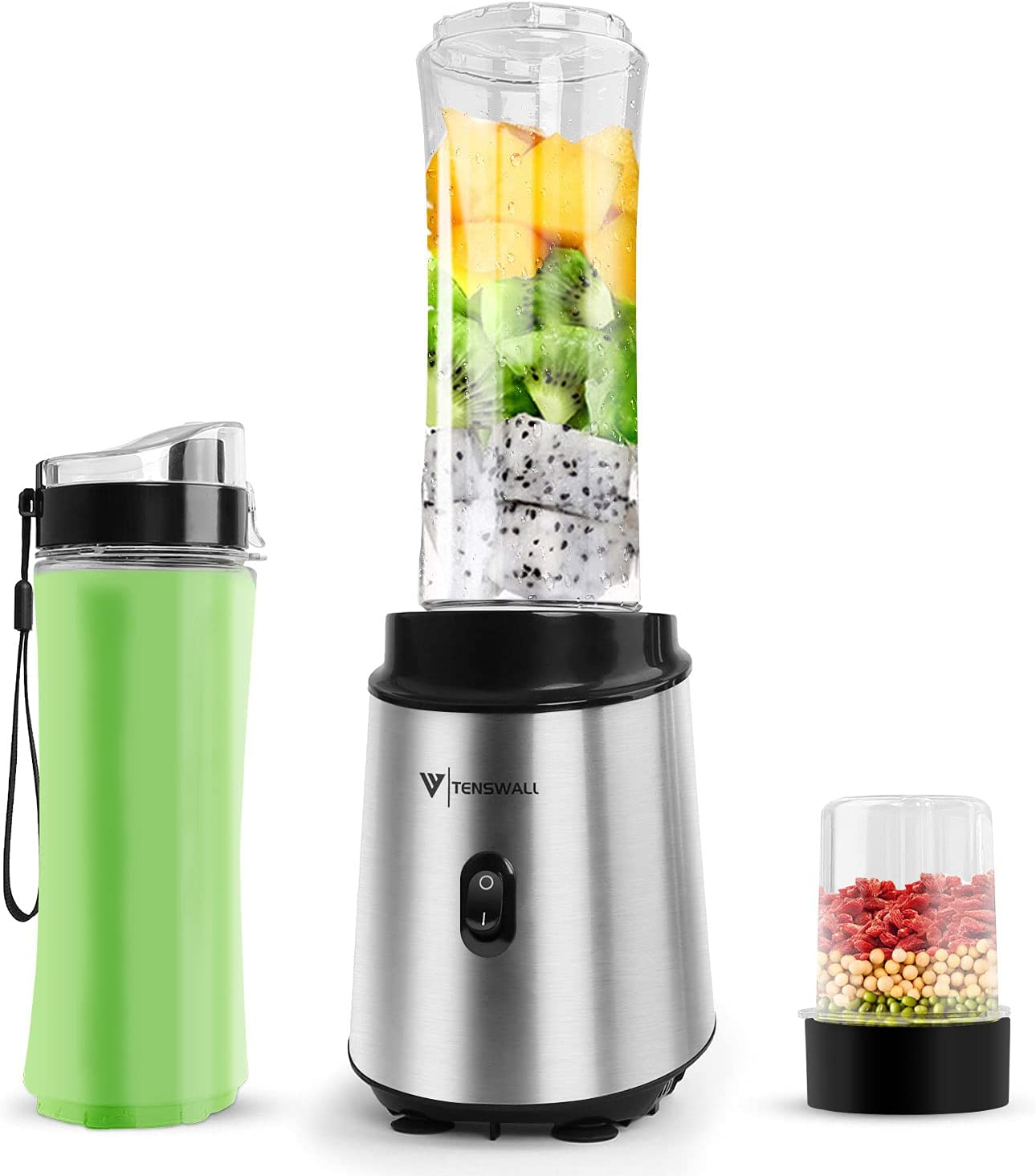Personal Shakes Smoothies Blender juicer - Small Frozen Food and Vegetable Fruit Electric Mix Processor with 2x600 Juicer Cup and One Grind Bottle & Kitchen Travel Stainless(Tenswall series of)
