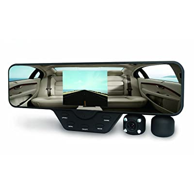 Black Box M1000 Rearview Mirror Dash Cam - Dual Camera Rotating Lenses & Full HD Car DVR Video Recorders - Wide Angle, G-Sensor, 60FPS, WDR Night Video & Motion Detection (16GB SD Included): Electronics