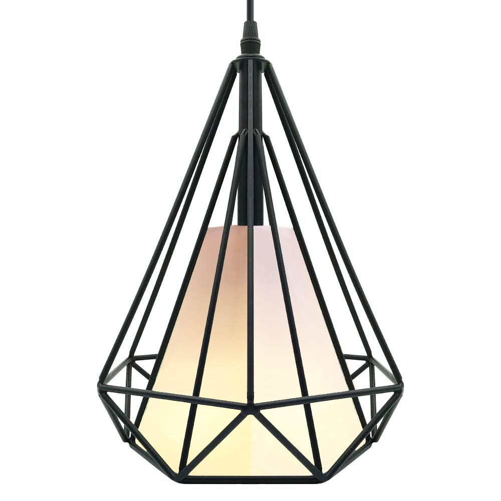 CREATE BRIGHT Retro Style Industrial Loft Metal Chandelier Ceiling Pendant Light,Black Iron Basket Cage Hanging Lamp