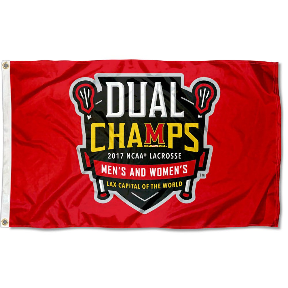 College Flags and Banners Co. Maryland Terrapins 2017 Mens and Womens Lacrosse National Champions Flag