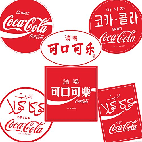 Retro Planet Drink Coca-Cola International Languages Vinyl Sticker Set of 6