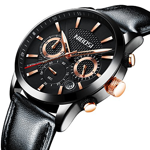Watches,Mens Military Quartz Analog Leather Watch Waterproof Sport Clock Luxury Brand Wrist Watch Black