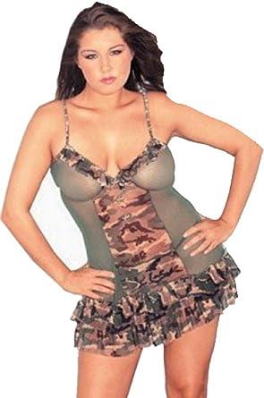 a623bb04f4e Amazon.com  Raveware Lingerie Women s Plus Size Sexy Camouflage Powermesh  Lingerie Set with Thong