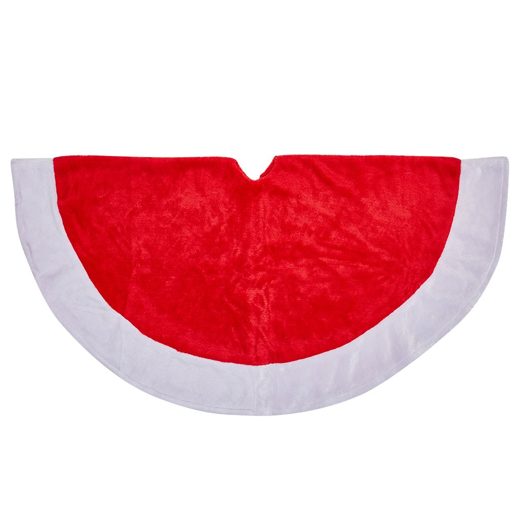 Cotill Christmas Tree Skirt Decorations 48 inch Red and White Large Traditional Velvet Tree Ornaments Decoration for Merry Christmas