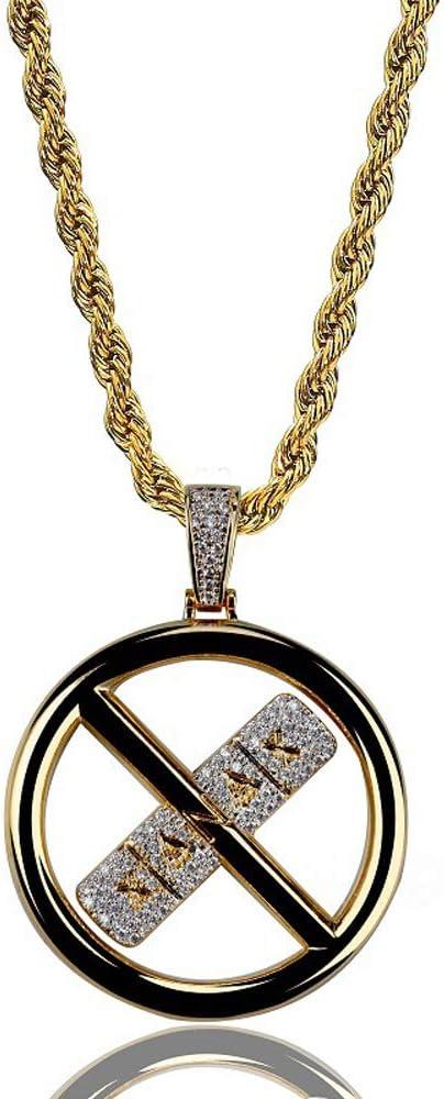 Hip Hop Cruz Anillo Colgante Collar, Micro-Incrustaciones Circón Collar Colgante Accesorios Collar Joyas de Regalo