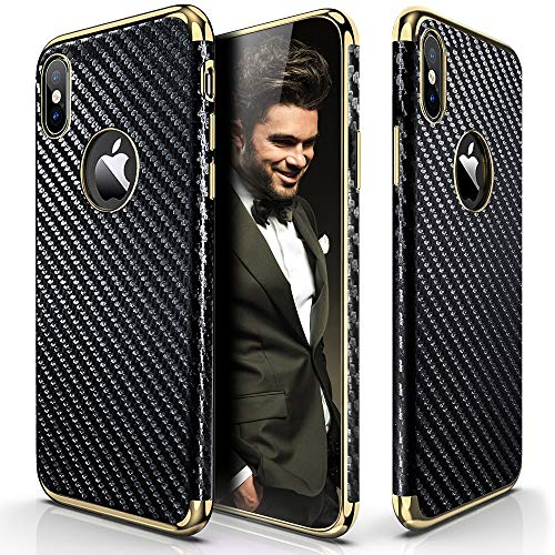 LOHASIC Luxury Leather Case for iPhone Xs Max, 6.5 inch Ultra Slim & Thin Vintage Textured Cover Soft Flexible Electroplate Frame Non-Slip Shockproof Cases for iPhone Xs Max (2018) - Carbon Fiber -