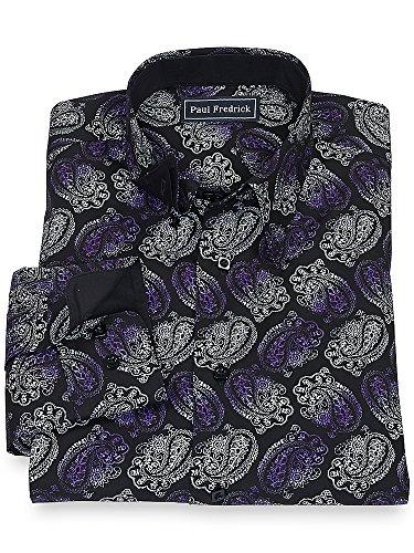 Paul Fredrick Men's 100% Cotton Paisley Hidden Button Down Collar Sport Shirt Black/purple Large
