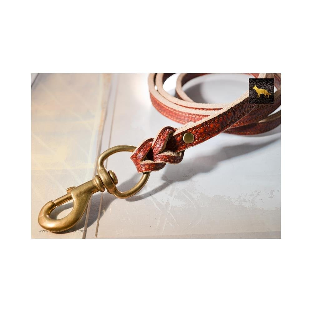 Red Leather Paws 5 Feet Fire Thick Leather Leash