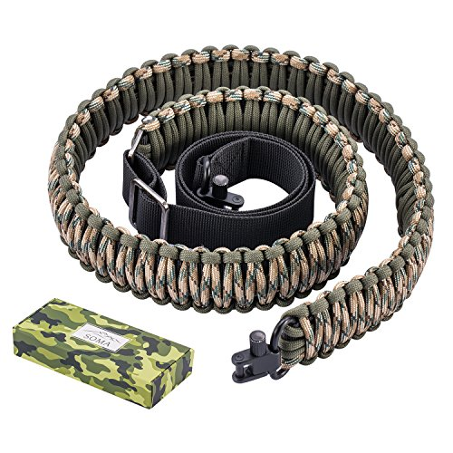 Soma Gun Sling Paracord 550lb 2 Point Adjustable Strap for Tactical Rifle or Shotgun 4 Colors (Camo Rifle)