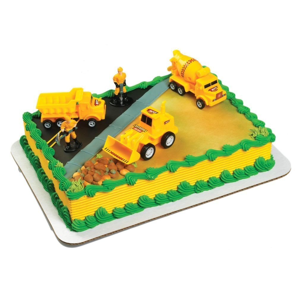 Amazon.com: A Birthday Place Construction Scene Cake Topper Kit ...