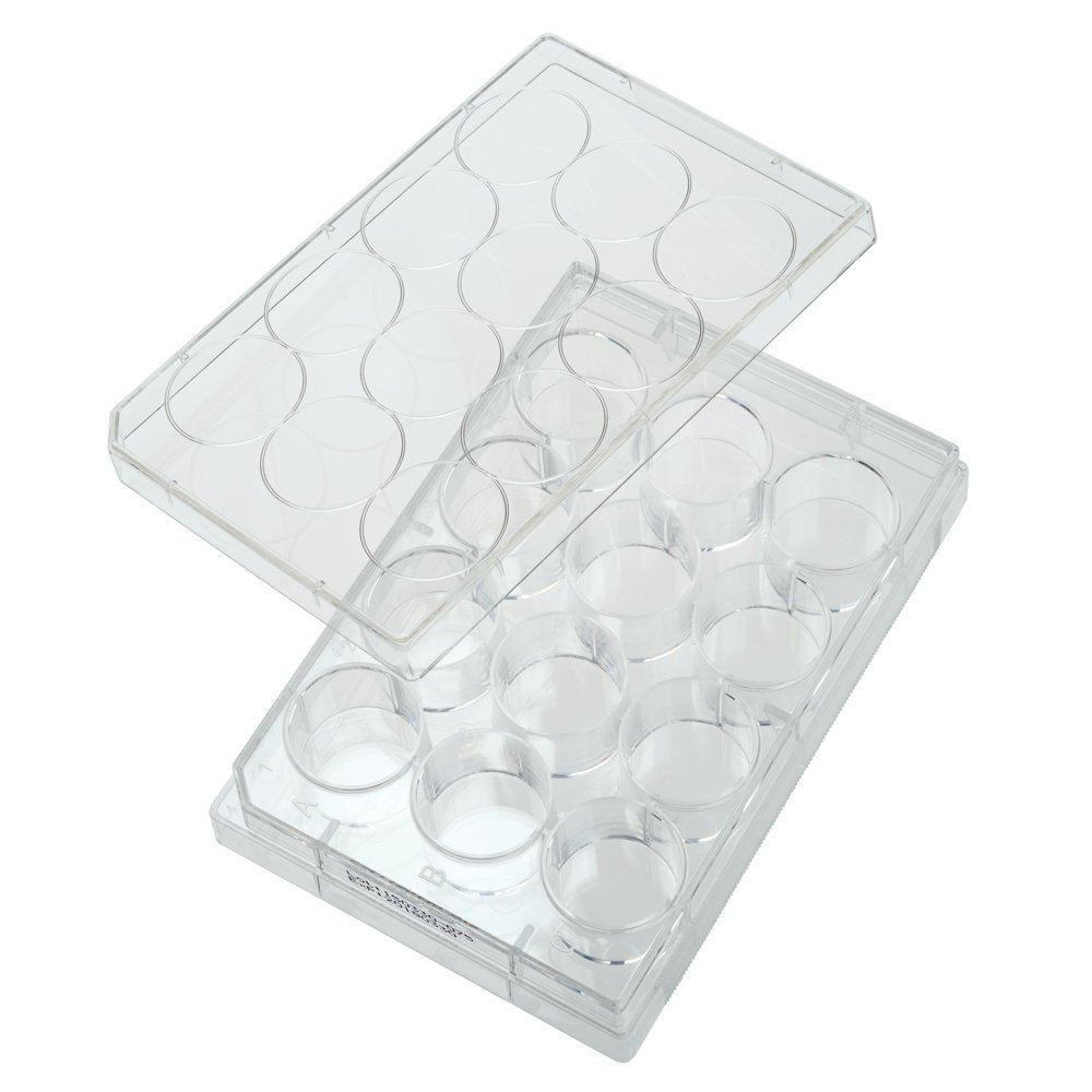 Celltreat 229112 12 Well Tissue Culture Plate with Lid, Sterile, 3.85cm2 Cell Growth Area, Individual Pack (Case of 100)