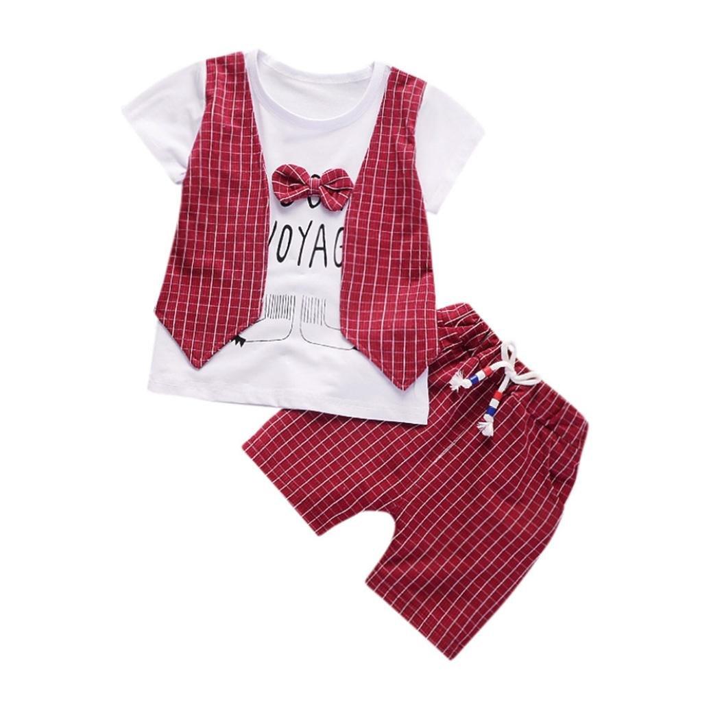 Pantaloncin Abiti Set Jimmackey 2Pcs Neonato Bambino Camicia Plaid Bowknot Lettera T-Shirt Cime