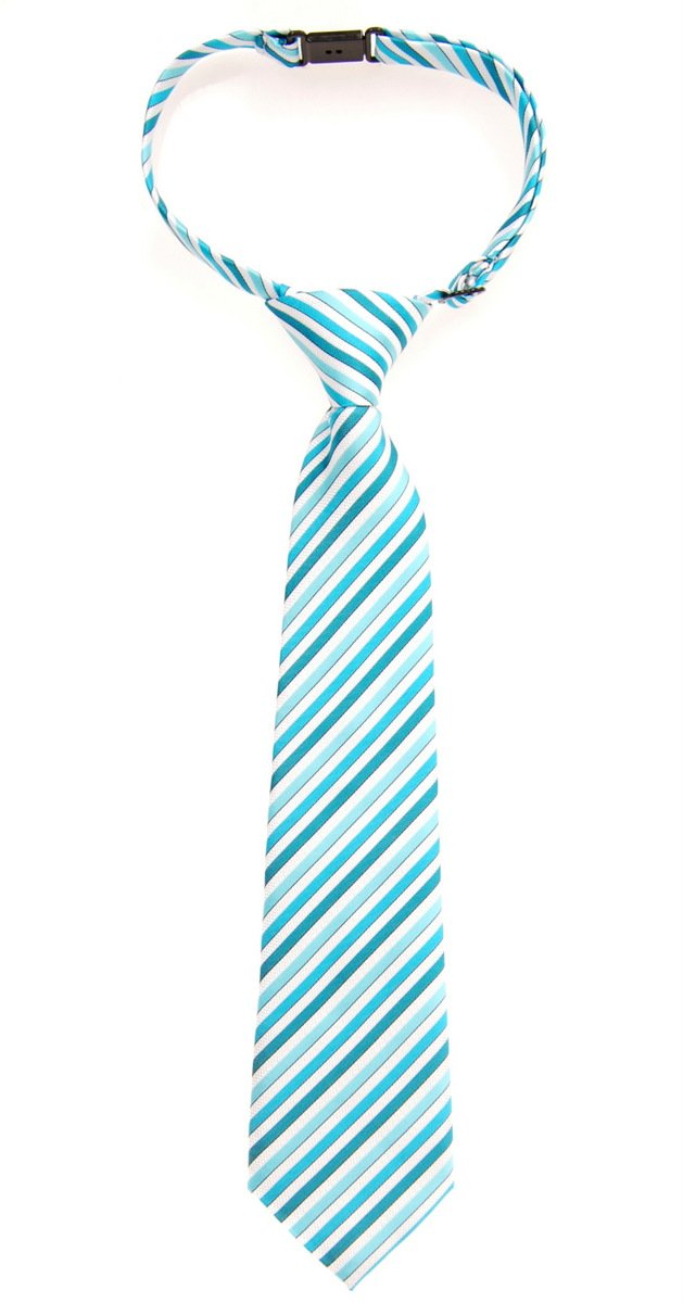 Retreez Retro Multi Tone Stripe Woven Microfiber Pre-tied Boy's Tie - Turquoise - 4-7 years