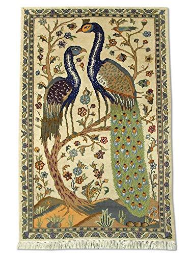(Pak Persian Rugs Traditional Handmade Peacock Rug, Wool/Art. Silk (Approx. 50%), Cream, 3' 1
