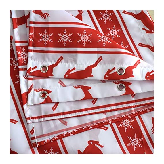 BROSHAN Christmas Shower Curtain Red and White, Modern Striped Snowflake Deer Holiday Bathroom Curtain, Merry Christmas Fabric Bathroom Decor Set with Hooks, 72 x 72 inch -  - shower-curtains, bathroom-linens, bathroom - 6151GdeujAL. SS570  -