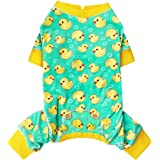 kyeese Dog Pajama Yellow Duck Soft Material Stretchable Dog Pajamas Onesie Pet Pjs for Fall Winter