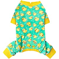 KYEESE Dog Pajamas Yellow Ducks for Small Dogs Soft Material Stretchable Dog Pjs Cat Pajama Dog Apparel
