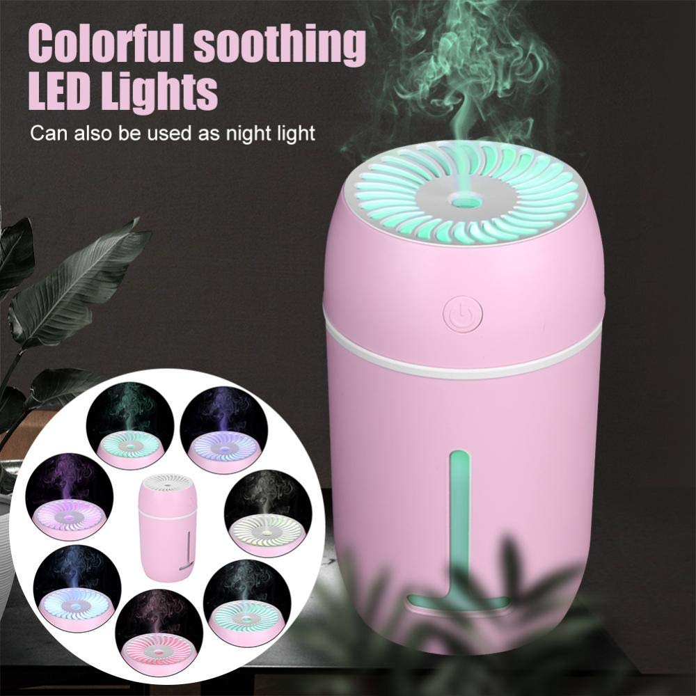 Aramox Mini Cool Mist Humidifier,Portable Ultrasonic Humidifier Diffuser with Colorful LED Light for Home, Office, Bedroom, Baby Room,Travel(Pink)