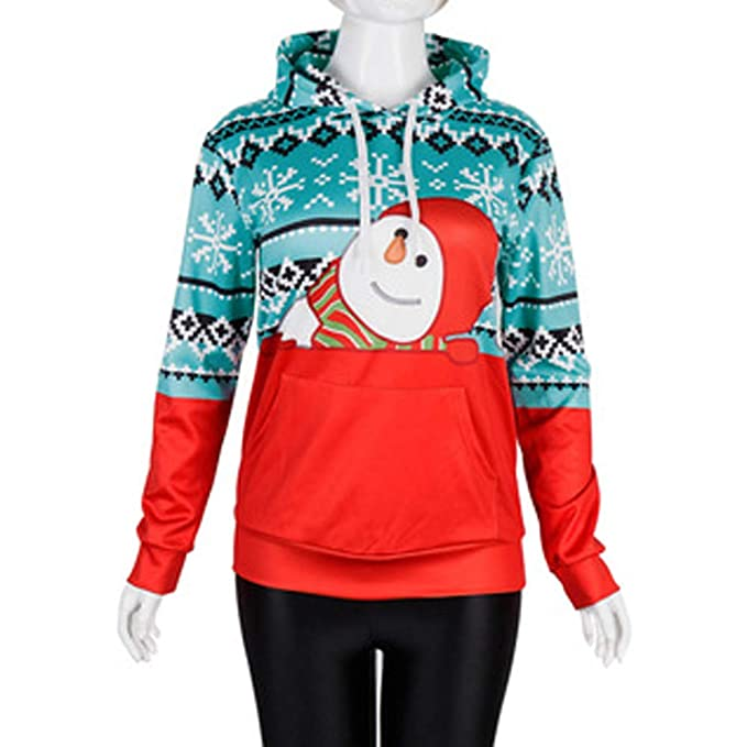 RedBrowm Women Men Unisex 3D Christmas Little Snowman Print Splice Couples Hoodie at Amazon Womens Clothing store: