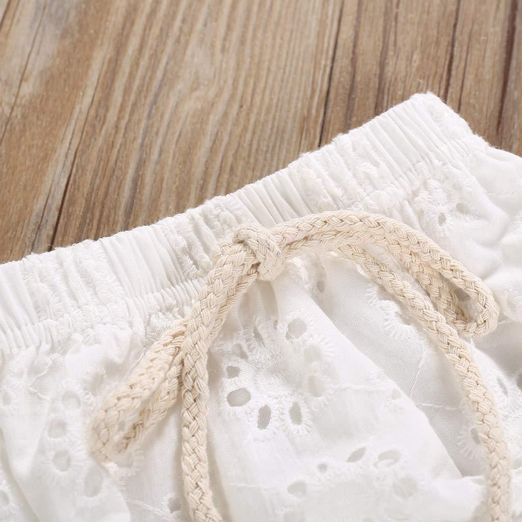 Fossen Ropa Bebe Ni/ña Verano 2019-2PC//Conjuntos para Recien Nacido 0 a 2 a/ños Tops sin Mangas con Encaje de Color Liso Pantalones Corto