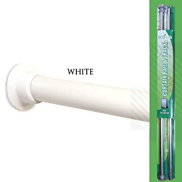EcoSpa® Telescopic Shower Curtain Rail Pole in White Fits 75-210cm ...