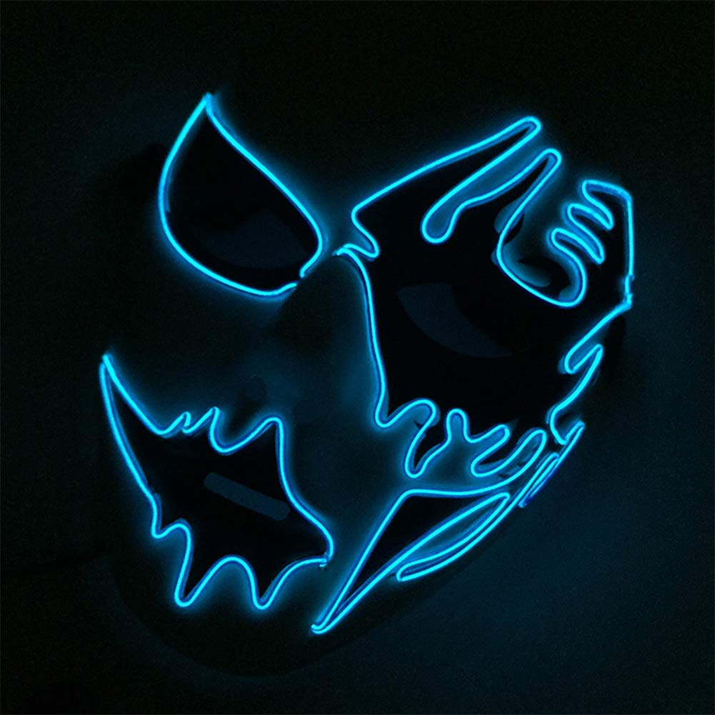 Steellwingsf LED Luminous Voice Control Lighting Halloween Cosplay Party Flashing Face Mask 1#