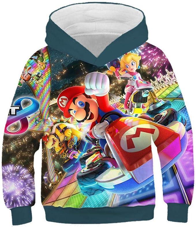 hhalibaba Junge Kleidung Hoodies Kinder Kleidung 3D Mario Print Jungen und M/ädchen Hoodie Herbst Winter Outwear