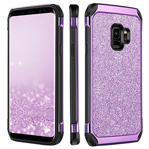 Galaxy S9 Case, Samsung Galaxy S9 Case, BENTOBEN 2 in 1 Glitter Bling Slim Hybrid Hard PC Cover Laminated with Sparkly Shiny Leather Chrome Shockproof Bumper Phone Cases for Samsung Galaxy S9 Purple