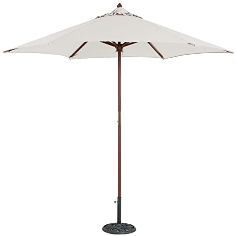 TropiShade 9 Ft Wood Market Umbrella With Antique White Polyester Cover