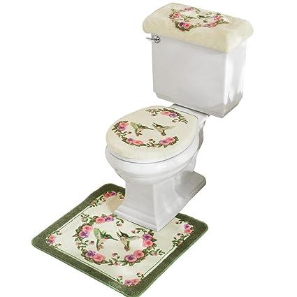 Superior Hummingbird Floral Bathroom Toilet Accessories   3 Pc