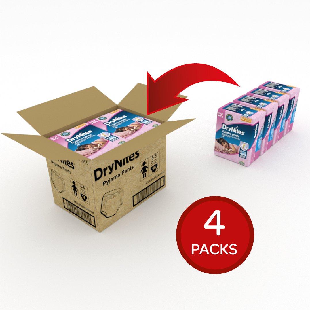 DryNites - Braguitas absorbentes para niña - 3-5 años (16-23 kg), 4 paquetes x 16 uds (64 unidades): Amazon.es: Salud y cuidado personal