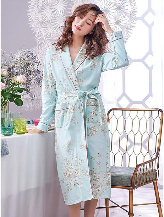 Bata de algodón de Manga Larga para Mujer, sección Larga, Servicio ...