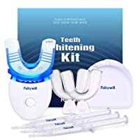 Fairywill Teeth Whitening Kit with Led Light for Sensitive Teeth,Teeth Whitening Kit, 35% Carbamide Peroxide 3ml(3) Gel with 5X Blue Light Accelerated, 2 Form Fitting Teeth Trays And A Case