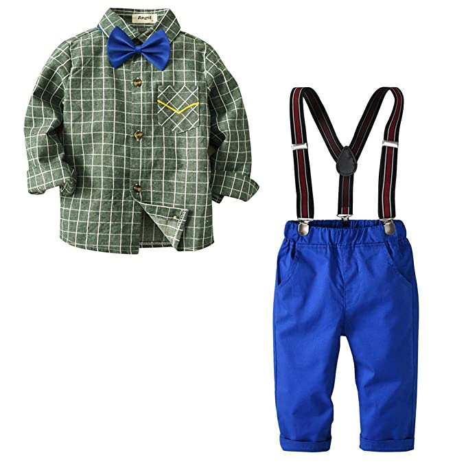 Amazon.com: Toddler Baby Boys Gentleman Bowtie Plaid Shirt ...