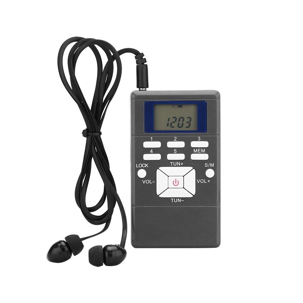 Grey Vingtank Master Portable Mini Digital Tuning FM Shortwave Stereo Radio Receiver with LCD Screen and Earphone//String FM Pocket Radio