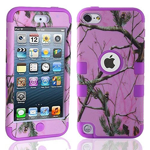 Kecko(TM) Defender Tough Armor Tree Camo Shockproof Dual Layer High Impact Camouflage Hunting Tree Forest Hybrid Hard Suitable Fit Case For ipod Touch 5 5th Only--Forest/Tree/Leaves On The Core (Pink Tree Purple)